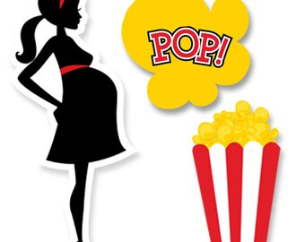 Ready To Pop Baby Shower Party Silhouettes Printed Photo Prop Cut-Out Shapes in Yellow, Black & Red
