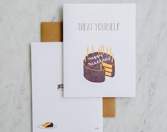 Treat Yourself! - Letterpress Birthday Cake Card