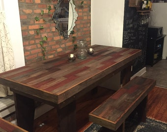 FREE SHIPPING Harvest Table , rustic table, barn wood table, barn wood bench , reclaimed barn wood dining table, country farm table, wood ta