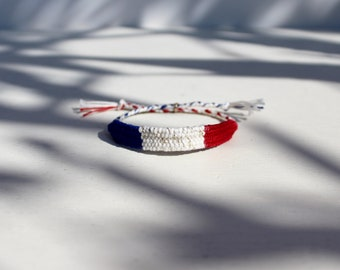 Woven bracelet,Frenchy bracelet Blue White Red,France,Medina Blue