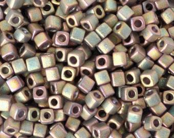 Seed Beads-3mm Cube-2035 Matte Metallic Khaki Iris-Miyuki-15 Grams