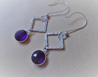 Earrings amethyst and sterling silver / / round and square