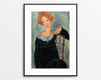 Amedeo Modigliani - Woman With Red Hair, 1917 - Modigliani Print - Modigliani Painting - Modigliani Wall Art - Redhead - Free Shipping USA