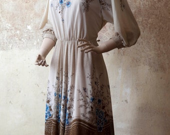 "Sheer Elegant Floral 70s Midi Dress ""Feine Dame"" M 