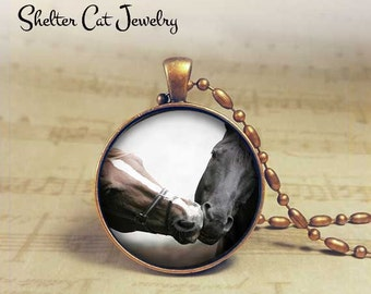"Kissing Horses Necklace - 1-1/4"" Circle Pendant or Key Ring - Handmade Wearable Photo Art Jewelry - Nature Art - Love, Romance, Animal Gift"