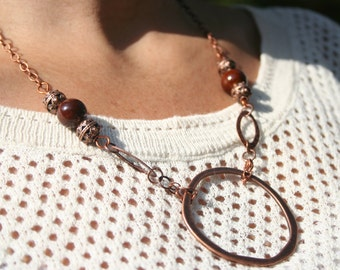 """Copper Circle Link Necklace with beaded accents - 18"""" Copper beads // copper chain // brown glass beads"""