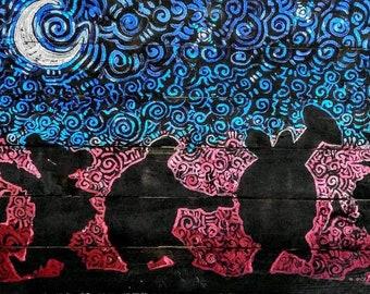 Moondance Rainbow Grateful Dead Art by Matt Pecson MADE TO ORDER Boho Bohemian Hippie Decor Reclaimed Wood Wall Art Best Selling Items