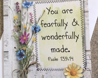 Item #115 Friendship/Encouragement/Thinking of You Greeting Card - Thinking of You - You are fearfully & wonderfully made. Psalm 139:14