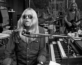 Gregg Allman With Brother Duane on Stage in 1971 - 5X7, 8X10 or 11X14 Publicity Photo (ZY-936)