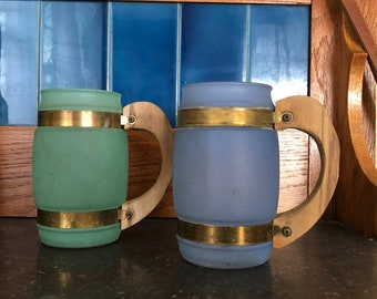 Vintage Siesta Wate Frosted Mugs With Wood Handle, 1960's Kitchen