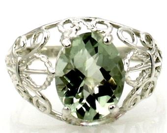 Green Amethyst, 925 Sterling Silver Ring, SR162