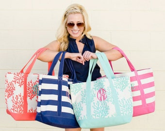 Monogrammed Tote Bridesmaid gift Personalized Tote, gift Beach pool tote  TEAL REEF