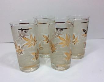 Vintage Gold Leaf 12 oz. Drinking Glasses Tumblers