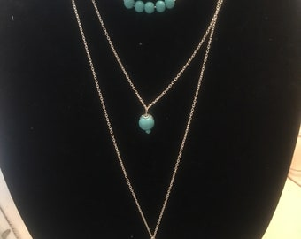 Teal 3-layer necklace