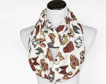 Dogs print Scarf Infinity Scarf for dog lovers loop scarf cute white brown dog scarf - matching scarf for mom and little girl & boy