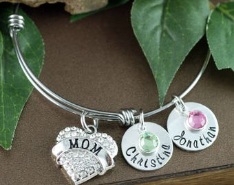 Gift for Mom, Mom Bangle Bracelet, Personalized Mom Bracelet, Grandma Bracelet, Gift From Kids for Mom, Mothers Day Gift, Gift for Her