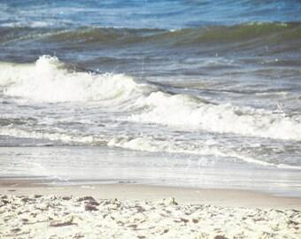 Beach Photography, Vintage Print, Beach Day, Wall Art, Decor, Blue White