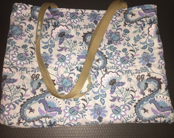 Dragon Floral with Brown Interior Cotton Fabric Bag