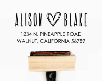 Custom Return Address Pre-Designed Rubber Stamp - Branding, Packaging, Invitations, Party, Wedding Favors - A022