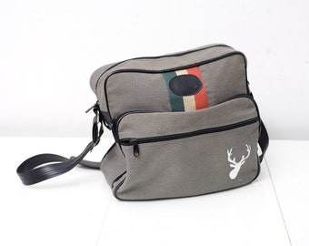 Canvas Carry On with Hand Painted Stag
