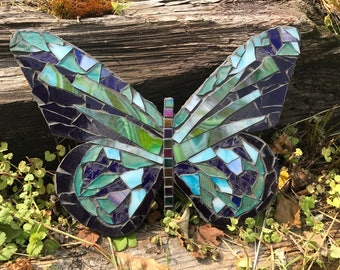 Blue Butterfly Stained Glass Mosaic