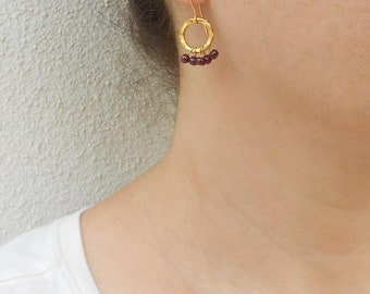 Gold loop earrings, Gold garnet earrings, January birthstone