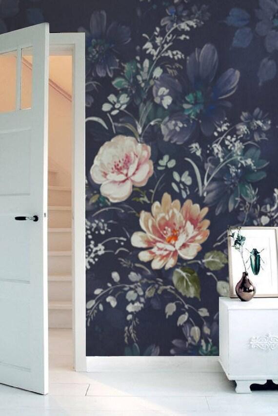 Vintage Floral Wallpaper Blossom Pattern Dark Deep Blue Navy