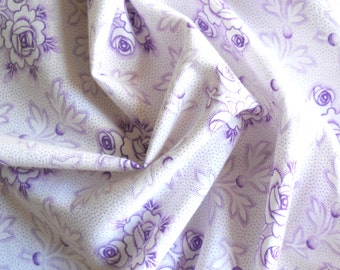 vintage floral fabric patchwork fabric french fabric antique lilac floral fabric vintage french fabric 187