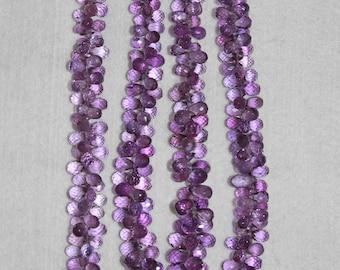 Amethyst, Amethyst Briolette, Faceted Briolette, Teardrop Briolette, Gemstone Bead, Purple Briolette, TWELVE Beads, 6-9 mm, AdrianasBeads