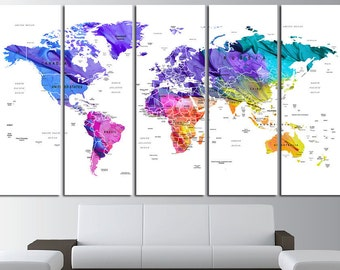 Brown watercolor world map print on canvas world map wall art push pin watercolor world map canvas print world map wall art set world map print world gumiabroncs Image collections