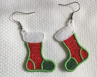 Christmas Stocking Freestanding Lace Earrings