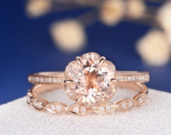 Flower Morganite Engagement Ring Rose Gold Unique Bridal Set Art Deco Wedding Band Dainty Antique Diamond Stacking Anniversary Retro 2pcs