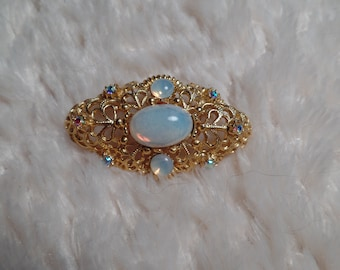 1960's Victorian Revival Brooch with Faux Opals