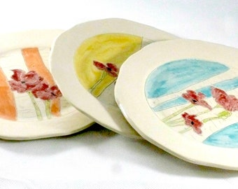 Poppy Flower Dinner Plate  Mismatched plates Kitchen Dinnerware Cookie Appetizer Plates Salad Dish 9th Anniversary Gift Ceramics and Pottery