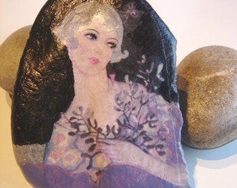 Art rock/Painted rock/ paper weight/ pattern sewing weight/ decor rock- 1920's series-one of a kind
