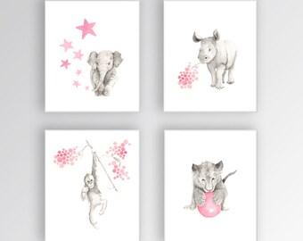 Animal Art for Nursery, Elephant Nursery Decor, Baby, Watercolor Nursery Art, Rhino Orangutan Lion, Kids Wall Art, Set of 4 Canvases - S443
