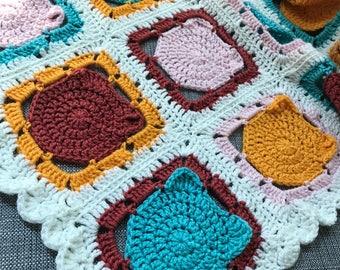Crochet Cat Blanket, Crochet Baby Blanket, Crochet Cat Granny Squares Blanket,  Crochet Lap Blanket, Cat Blanket, Crochet Cats