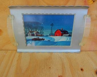 Vintage aluminum tray, winter scene, decorative tray