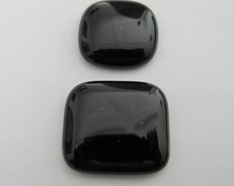 Two Fused  Square Freeform Black Cabochons