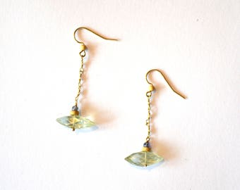 Green Amethyst Pearl Long Earrings / Modern Green Amethyst Pendant and Freshwater Pearl 14k Gold Filled Earrings with Tanzinite Gemstones