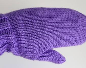 Knit Mittens, Ladies Purple Mittens, Grape Knitted Mittens, Knit Adult Mittens, Purple Mittens for Women, Warm Winter Mittens