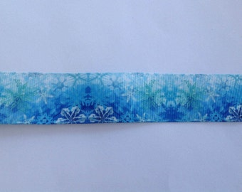 "1""  Snowflakes inspired Grosgrain Ribbon  -  By The Yard"