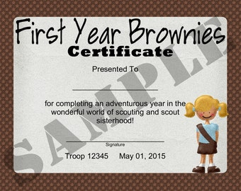 Girl Scout Year End Certificate