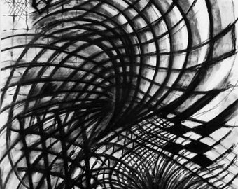 Abstract Minimalist Black and White Original Art - Gesture Charcoal Drawing 18x24
