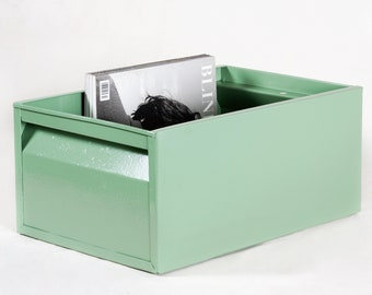 Large 1940s Industrial Storage Bin, Refinished in Sage Green
