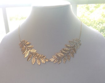 Leaf Necklace, Leaf Statement Necklace, Gold  Statement Necklace, Choker Necklace, Gold Bib Necklace, Bridal, Wedding, Bridesmaid Set Of