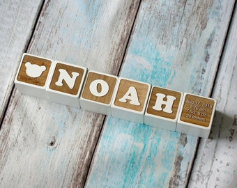 Personalized Wood Name Blocks, Alphabet Baby Custom Letters Wooden Toy, Natural Nursery Home Decor