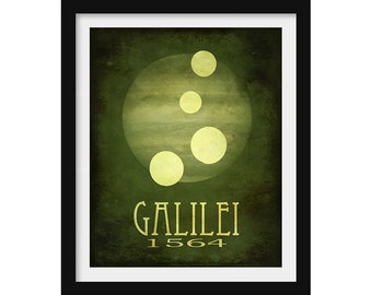 Astronomy Gift, Galileo Astronomy Poster, Science Art, Outer Space Decor, Moons of Jupiter, Astronomy Teacher Gift Science Gift Planet Print