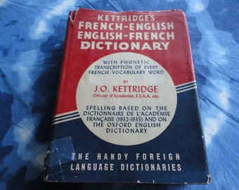 Kettridge's French-English Dictionary English-French Vintage Hardcover Book