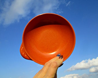 Vintage Melmac Bowl | Mid Century Colorflyte Branchell Plastic Bowl | One Wing Handle Cereal Bowl | Rich Speckled Burnt Orange Melmac Bowl